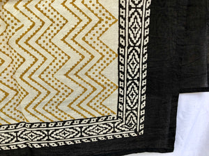 India Bohemian Wood Block Textile, Gold Chevron Detail