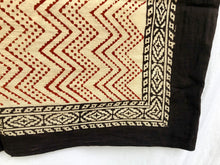 Load image into Gallery viewer, India Bohemian Wood Block Textile, Red Chevron Detail