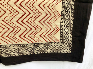 India Bohemian Wood Block Textile, Red Chevron Detail