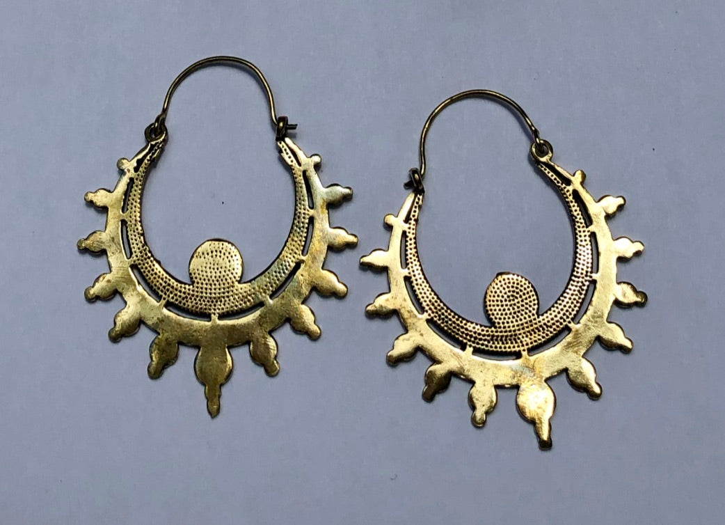Egyptian Sunrise Brass Earrings