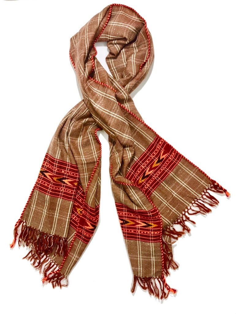 Hand Loomed Kullu Wool Scarf- Cinnamon Plaid