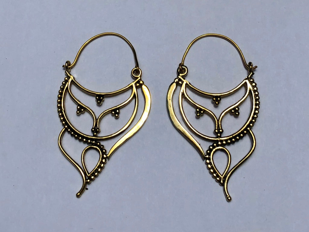Art Deco Drop Brass Earrings