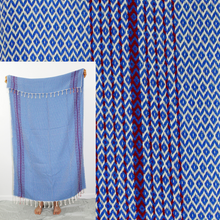 Load image into Gallery viewer, Turkish Beach Towel, Esen in True Blue