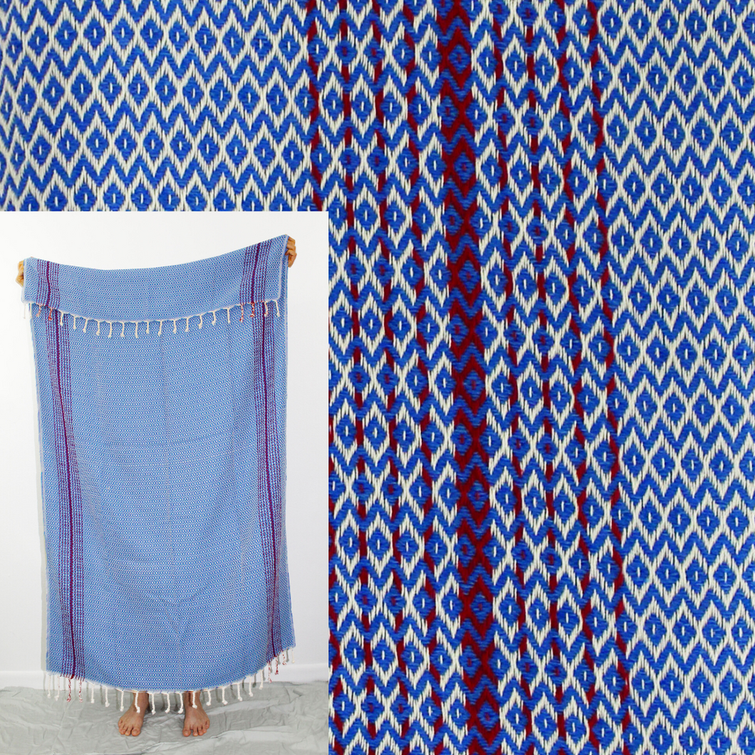 Turkish Beach Towel, Esen in True Blue