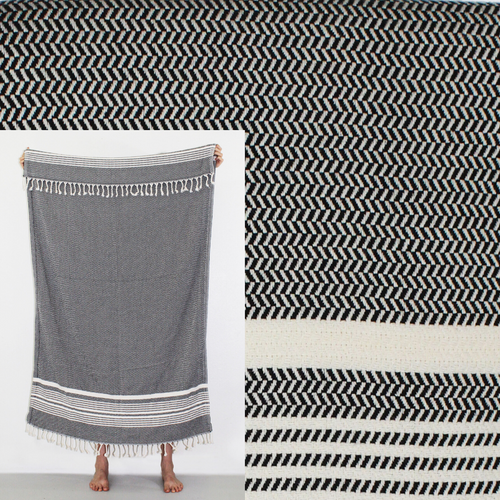 Turkish Beach Towel, Hanzade in Noir