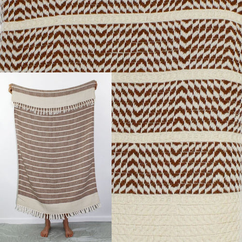 Turkish Beach Towel, Zeynep in Coffee