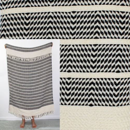 Turkish Beach Towel, Zeynep in Black