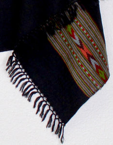 Hand Loomed Kullu Wool Scarf- Wide Border Black