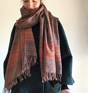 Hand Loomed Kullu Wool Scarf- Black with Fire