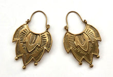 Load image into Gallery viewer, Brass Earrings- Art Deco Petals