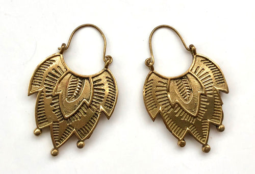 Brass Earrings- Art Deco Petals