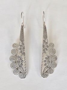 Silver Peacock Hill Tribe Earrings