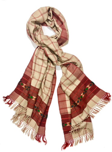 Hand Loomed Kullu Wool Scarf- Camel Plaid
