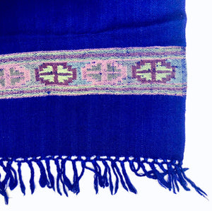 Hand Loomed Kullu Wool Scarf- Cobalt with Lilac