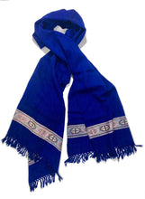 Load image into Gallery viewer, Hand Loomed Kullu Wool Scarf- Cobalt with Lilac