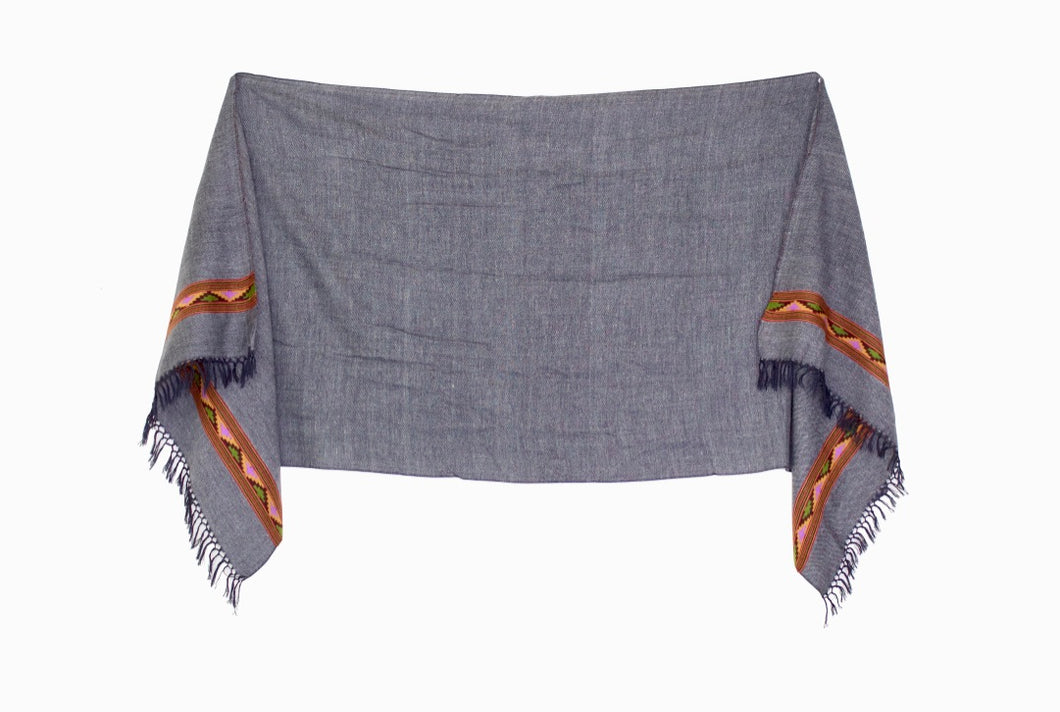 Hand Loomed Kullu Wool Scarf- Slate with Lavender and Lime
