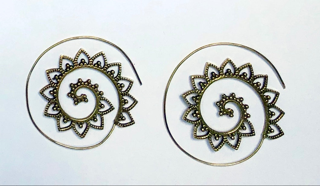 Petaled Spiral Brass Earrings