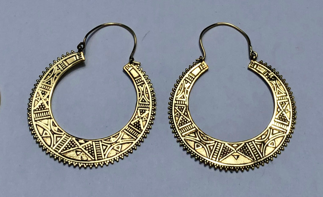 Egyptian Disk Brass Earrings