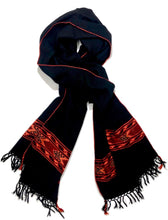 Load image into Gallery viewer, Hand Loomed Kullu Wool Scarf- Black with Fire