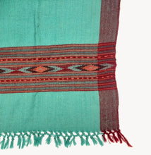 Load image into Gallery viewer, Hand Loomed Kullu Wool Scarf- Tuquoise