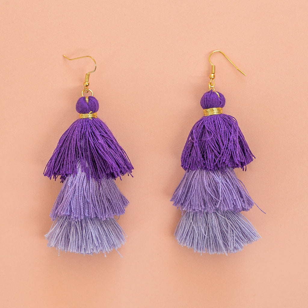 Purple Tassel Earrings - Sour Cherry
