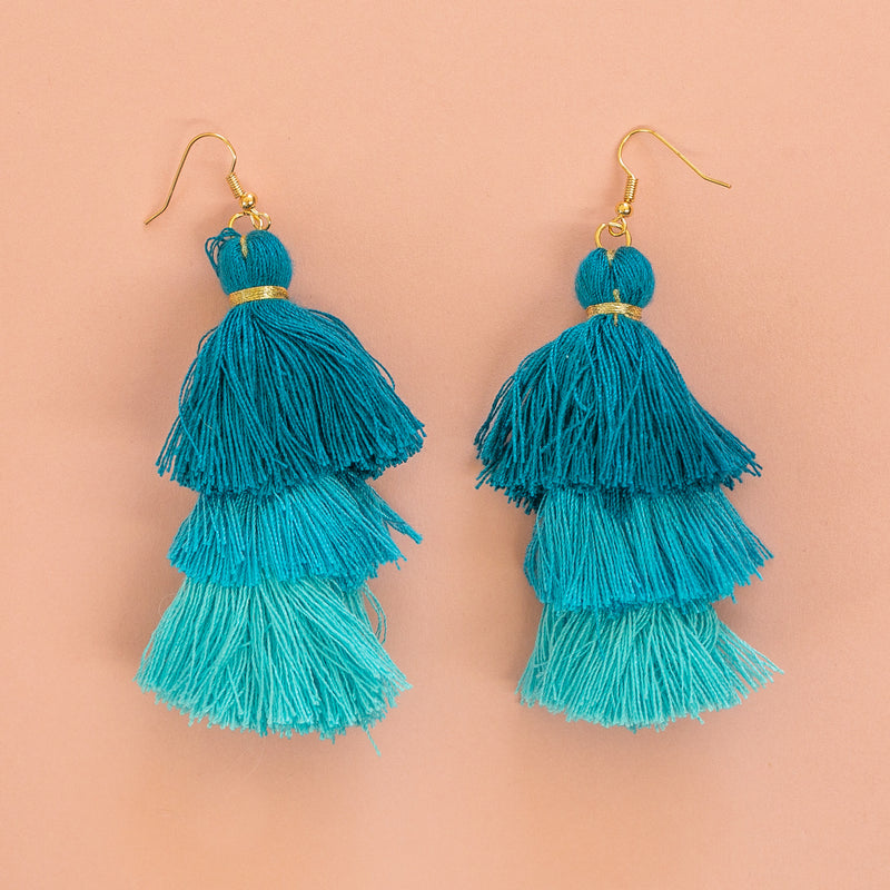 Turquoise Tassel Earrings - Sour Cherry