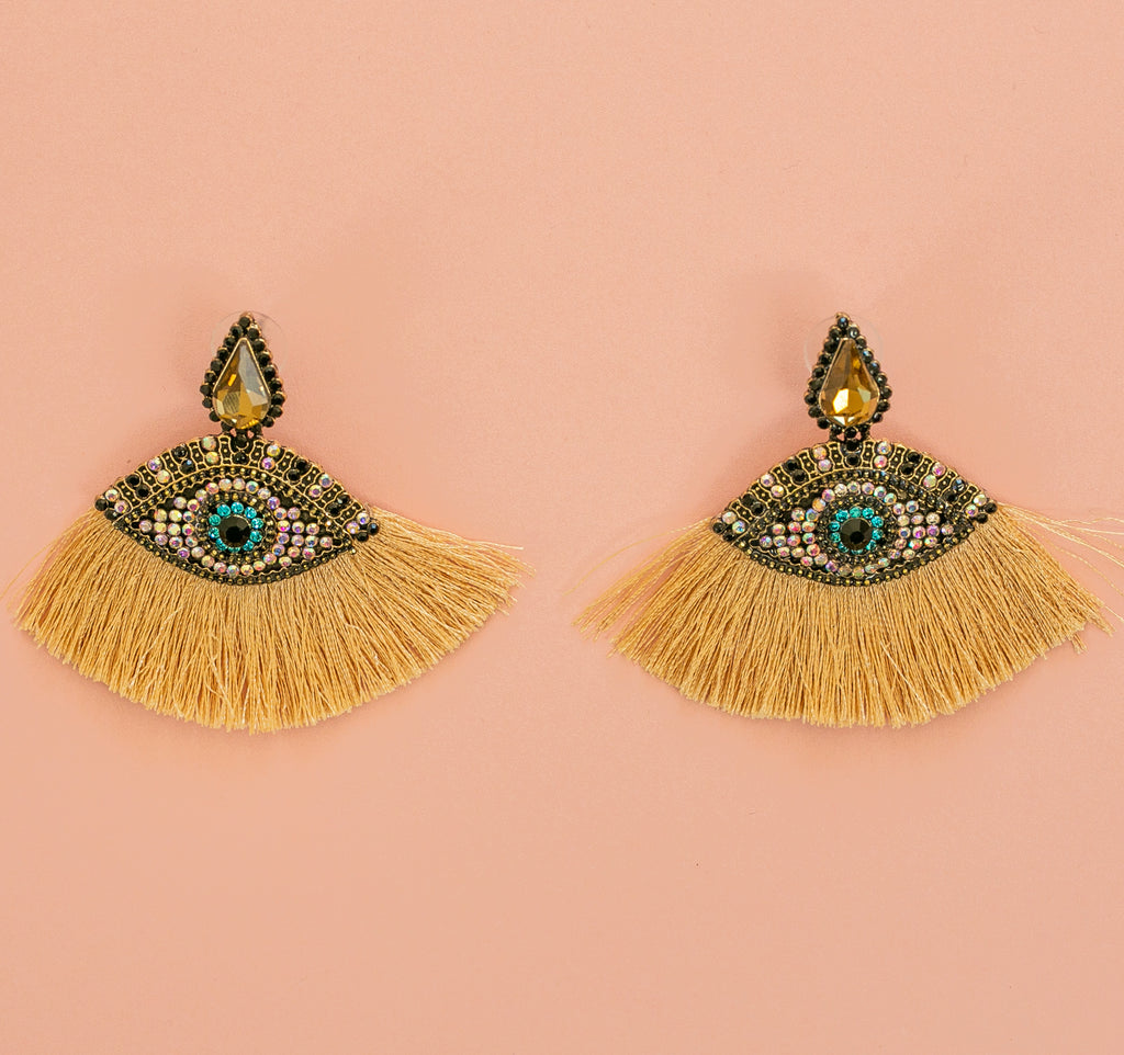 Eye Tassel Stud Earrings (Gold) - Sour Cherry