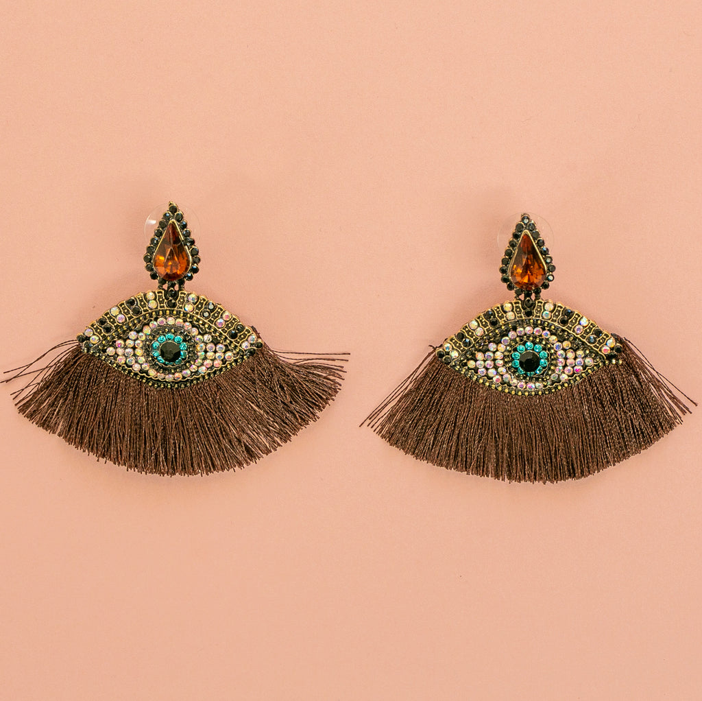 Eye Tassel Stud Earrings (Brown) - Sour Cherry