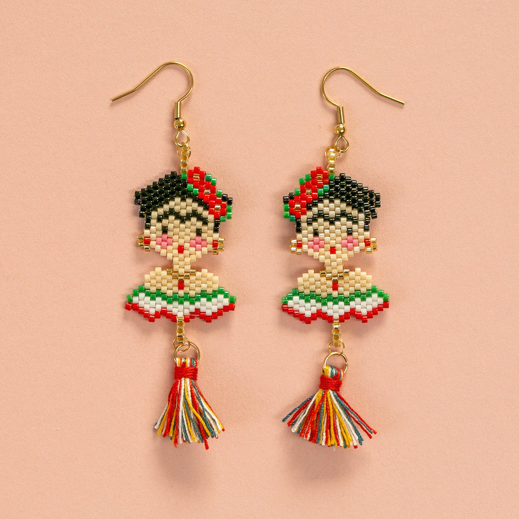 Frida Kahlo Beaded Earrings - Sour Cherry