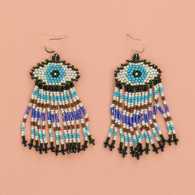 Beaded Eye Earrings (Blue) - Sour Cherry