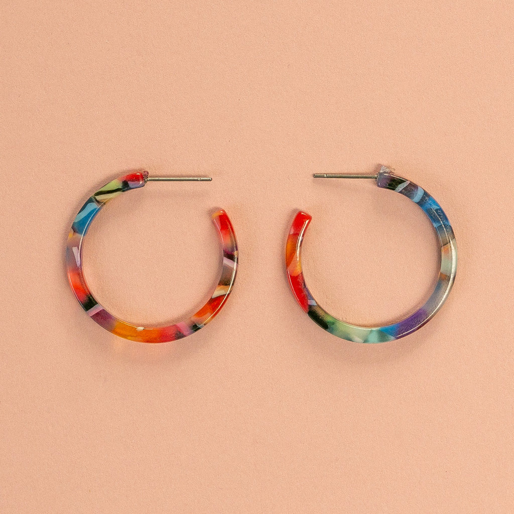 Resin Hoop Stud Earrings (Multi Coloured Bright) - Sour Cherry
