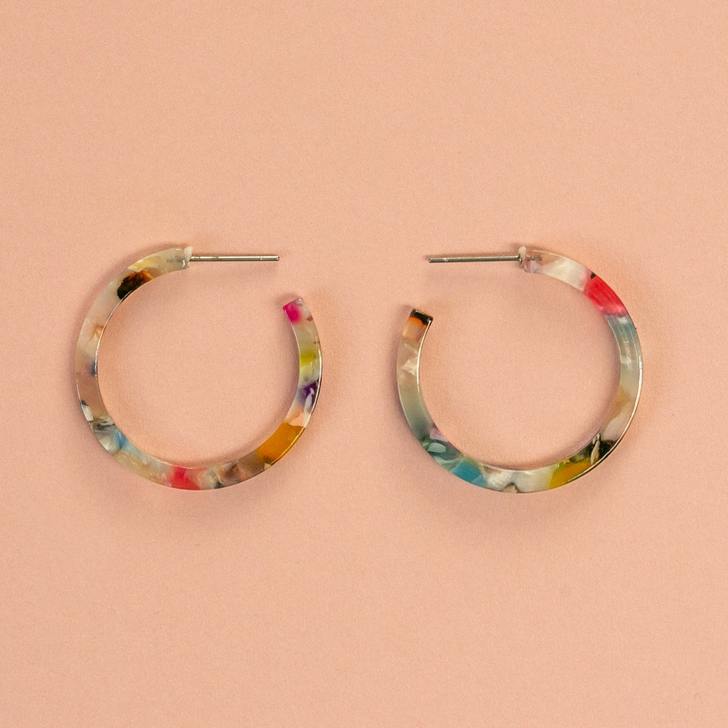 Resin Hoop Stud Earrings (Multi Coloured Light) - Sour Cherry