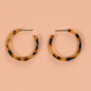 Resin Hoop Stud Earrings (Tortie) - Sour Cherry