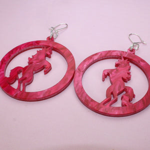 Cherry Marble Unicorn Earrings