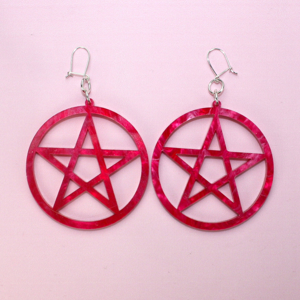 Cherry Marble Pentagram Earrings - Sour Cherry