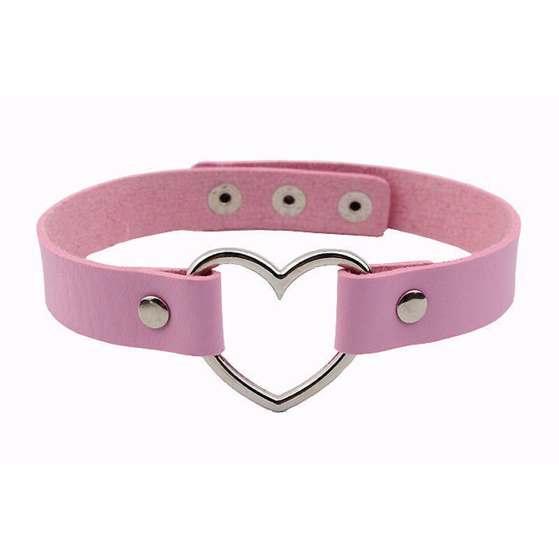 Faux Leather Heart Choker (Pink) - Sour Cherry