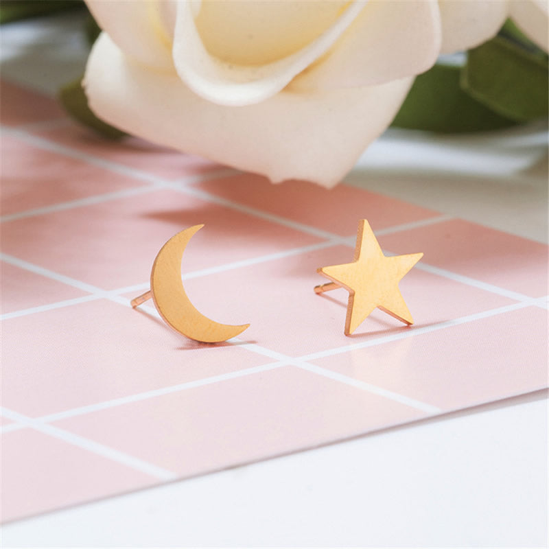 Star & Crescent Moon Stud Earrings (Gold Plated Stainless Steel) - Sour Cherry