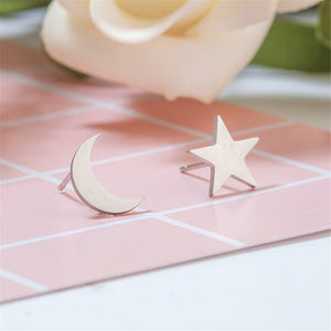 Star & Crescent Moon Stud Earrings (Stainless Steel) - Sour Cherry