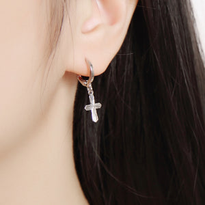 Small Cross Hoop Earrings (Silver Plated) - Sour Cherry