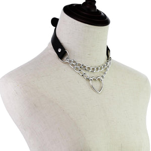Load image into Gallery viewer, Faux Leather Double Chain Heart Choker (Black) - Sour Cherry