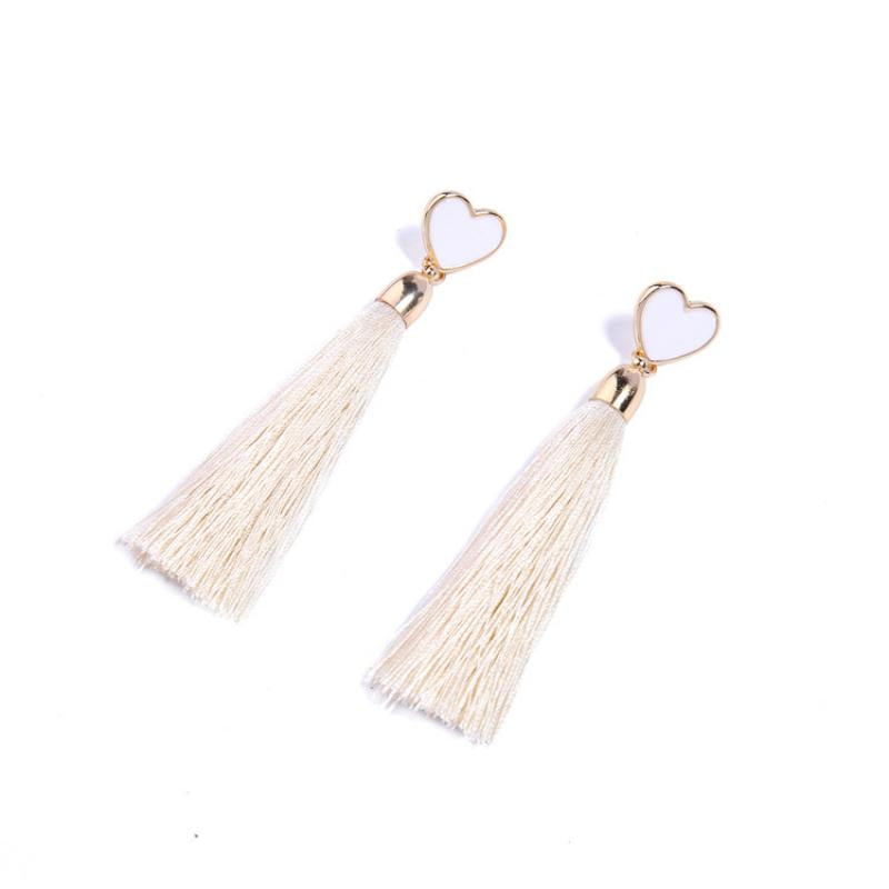 Cream Heart Tassel Earrings - Sour Cherry