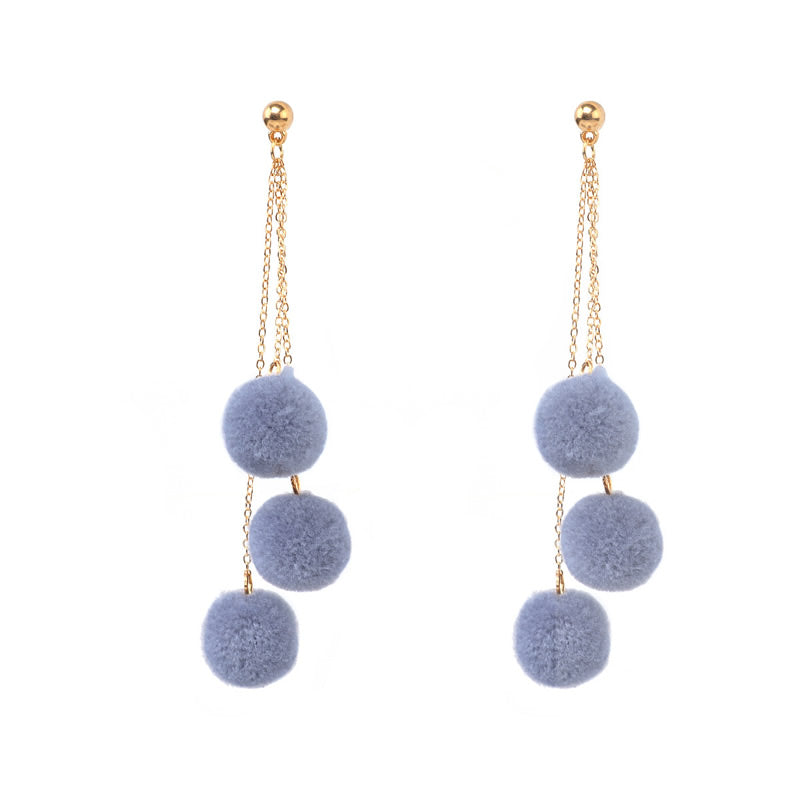 Triple Pom Pom Earrings (Grey)