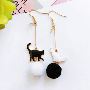Black & White Cat Pom Pom Earrings - Sour Cherry