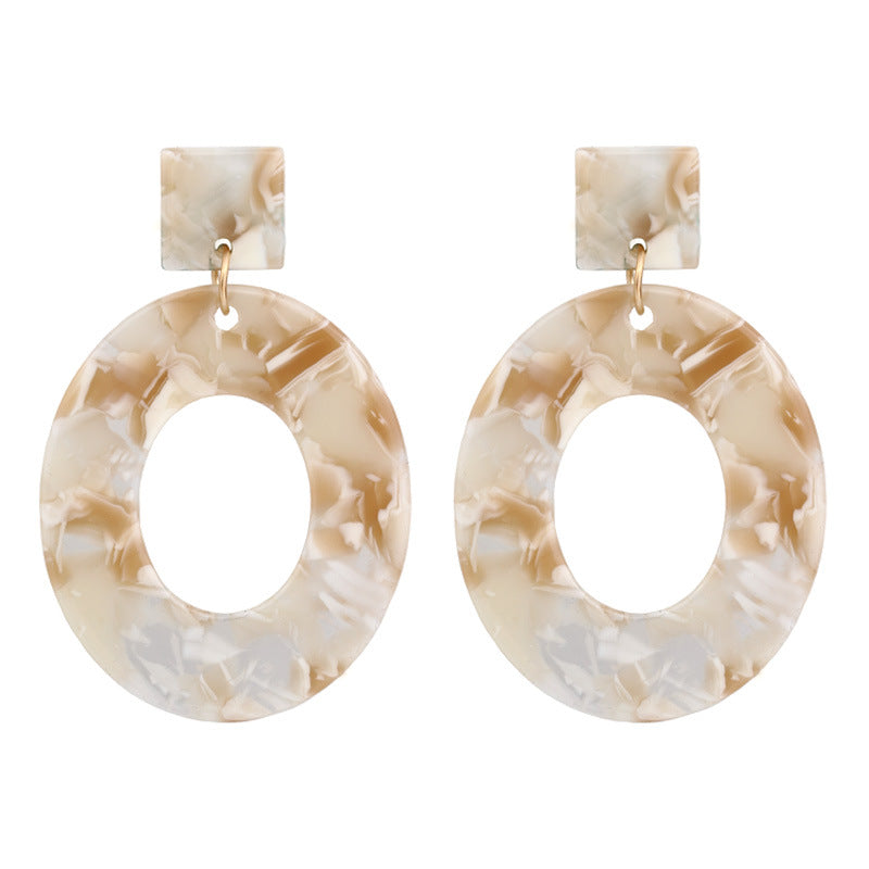 Toffee Marble Oval Resin Earrings - Sour Cherry