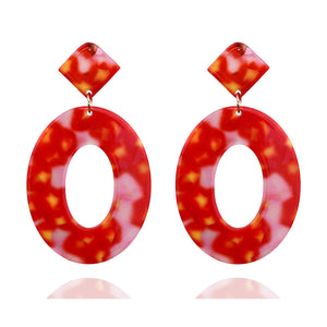 Red & Yellow Oval Resin Earrings - Sour Cherry