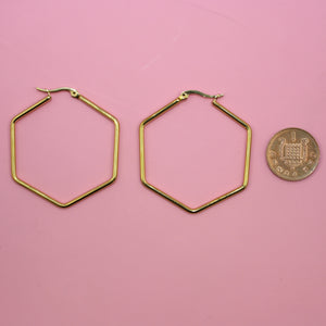 4.5cm Rounded Hexagon Hoop Earrings