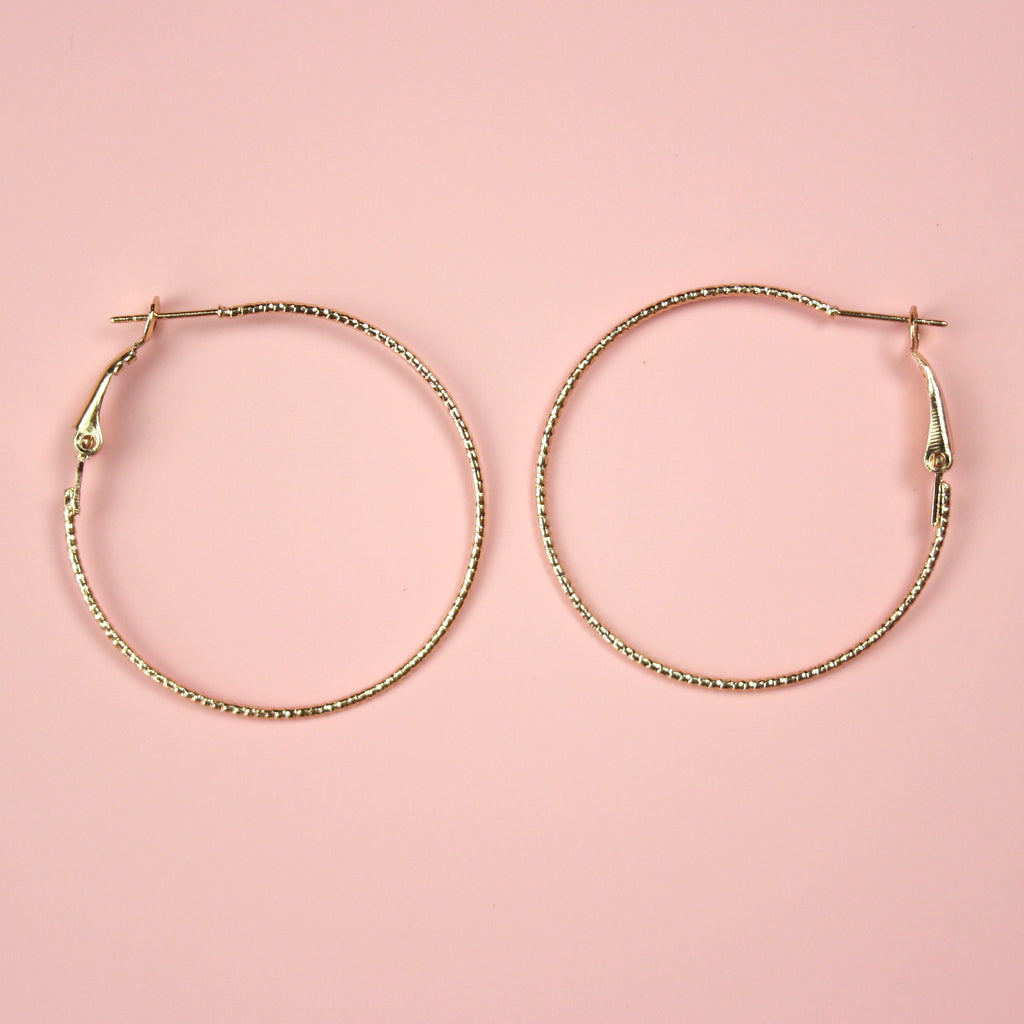 40mm Rope Hoop Earrings (Gold Plated)