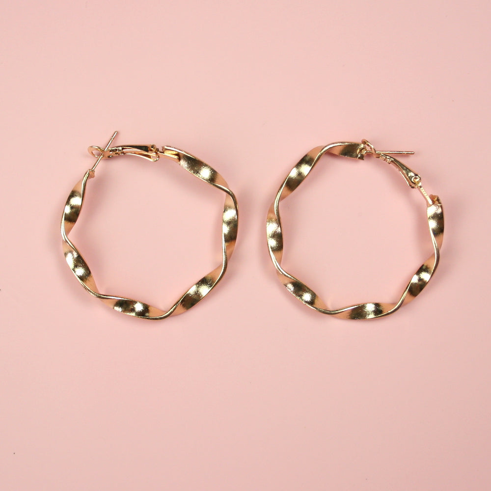40mm Chunky Twisted Hoops Earrings (Gold Plated) - Sour Cherry