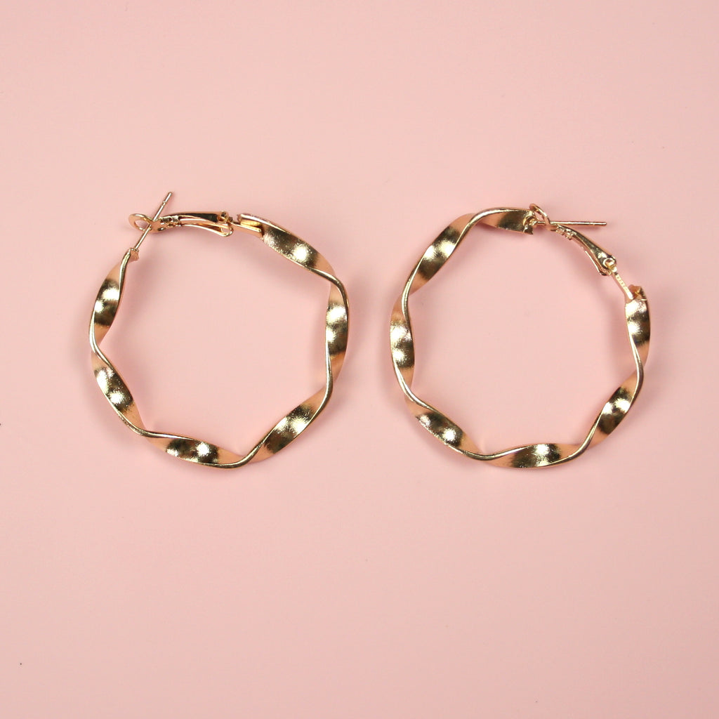 40mm Chunky Twisted Hoops Earrings (Gold Plated)