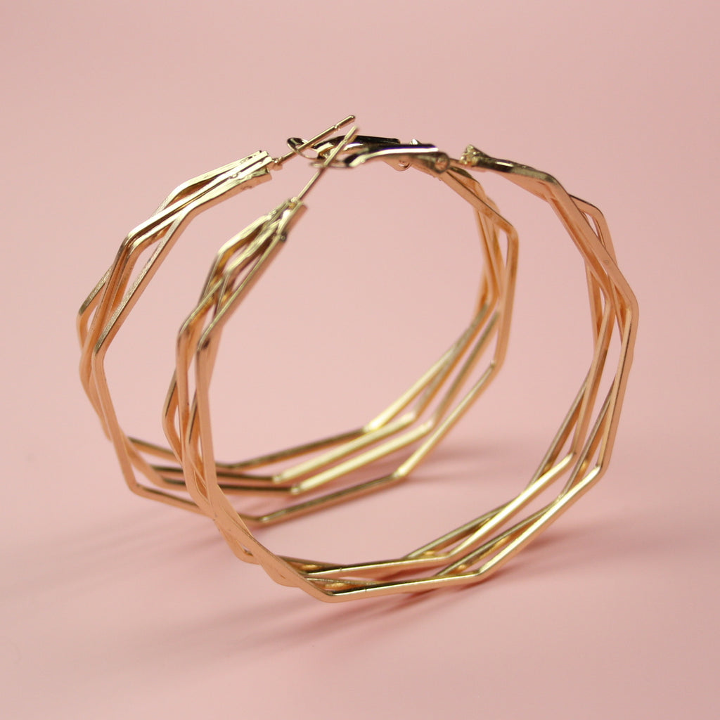 4 Layer Polygon Earrings (Gold Plated)